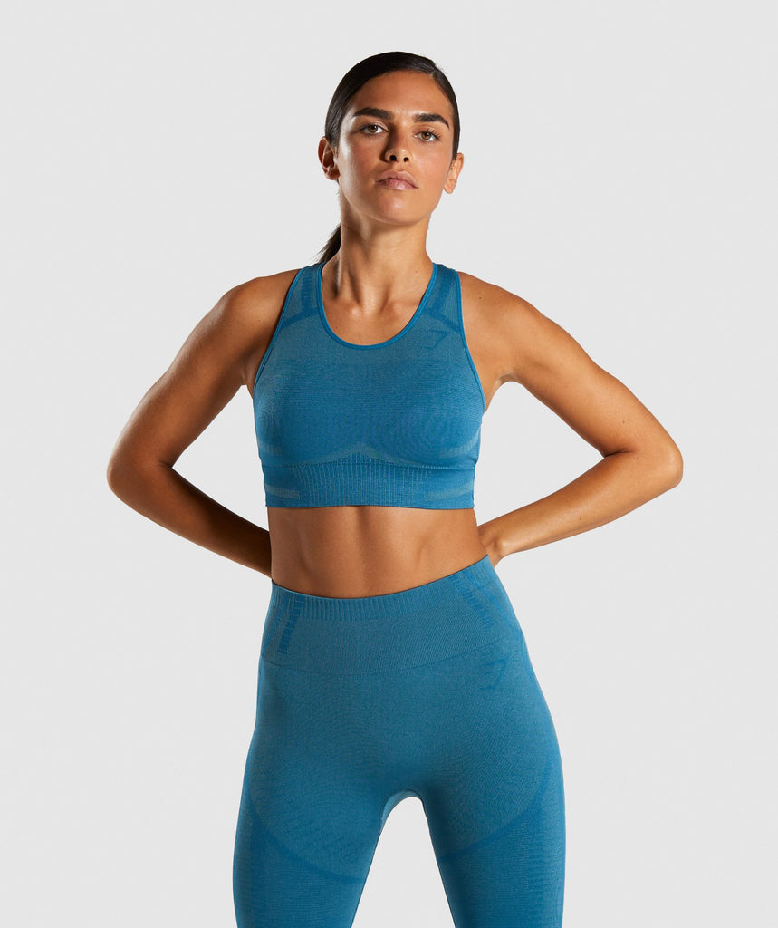 Gymshark Geo Seamless Sports Bra - Teal 1