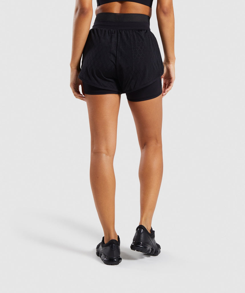 Gymshark Geo Mesh Two In One Short - Black 2