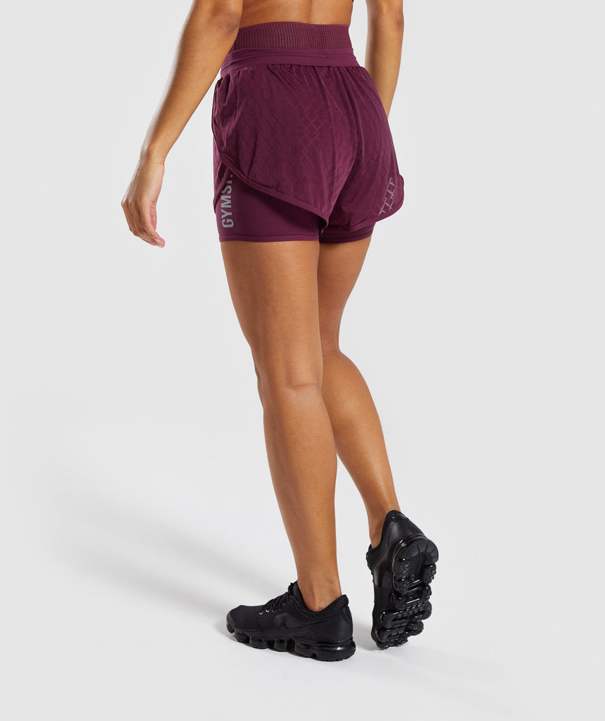Gymshark Geo Mesh Two In One Short - Dark Ruby 2