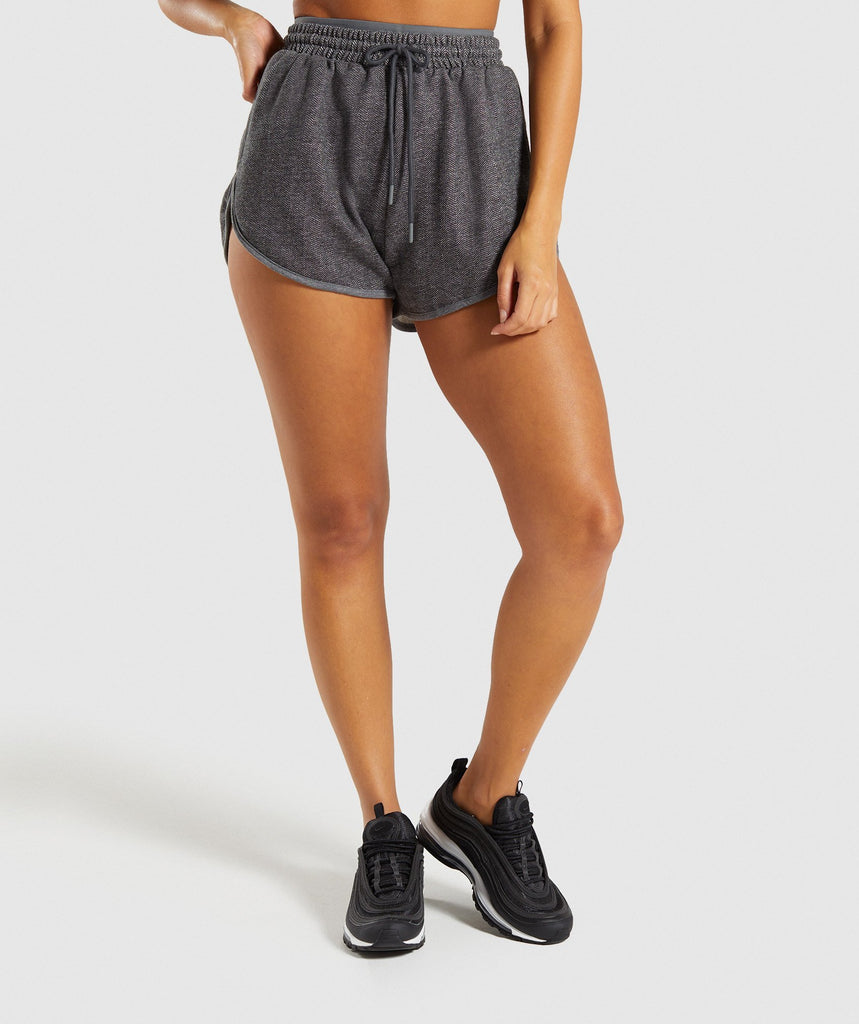 Gymshark Heather Dual Band Shorts - Black Marl 1