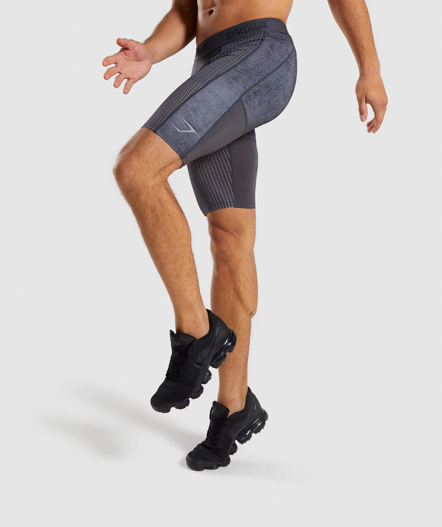 Gymshark Hybrid Baselayer Shorts - Charcoal Marl 1