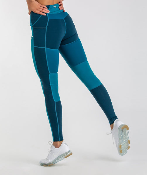 Gymshark Tonal Block Leggings - Deep Teal 4