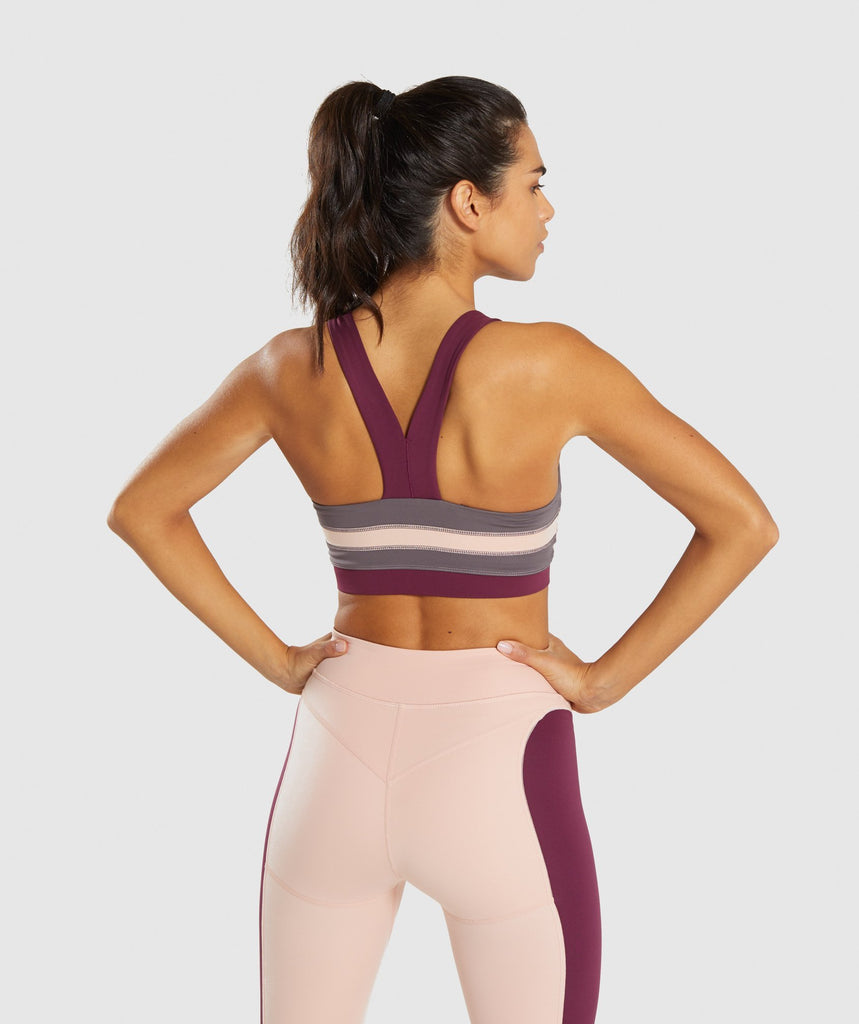 Gymshark Illusion Sports Bra - Dark Ruby/Blush Nude/Slate Lavender 2