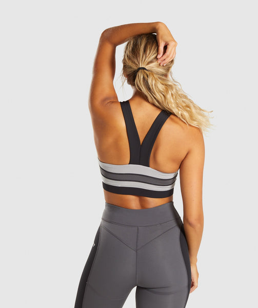 Gymshark Illusion Sports Bra - Black/Charcoal/Light Grey 1