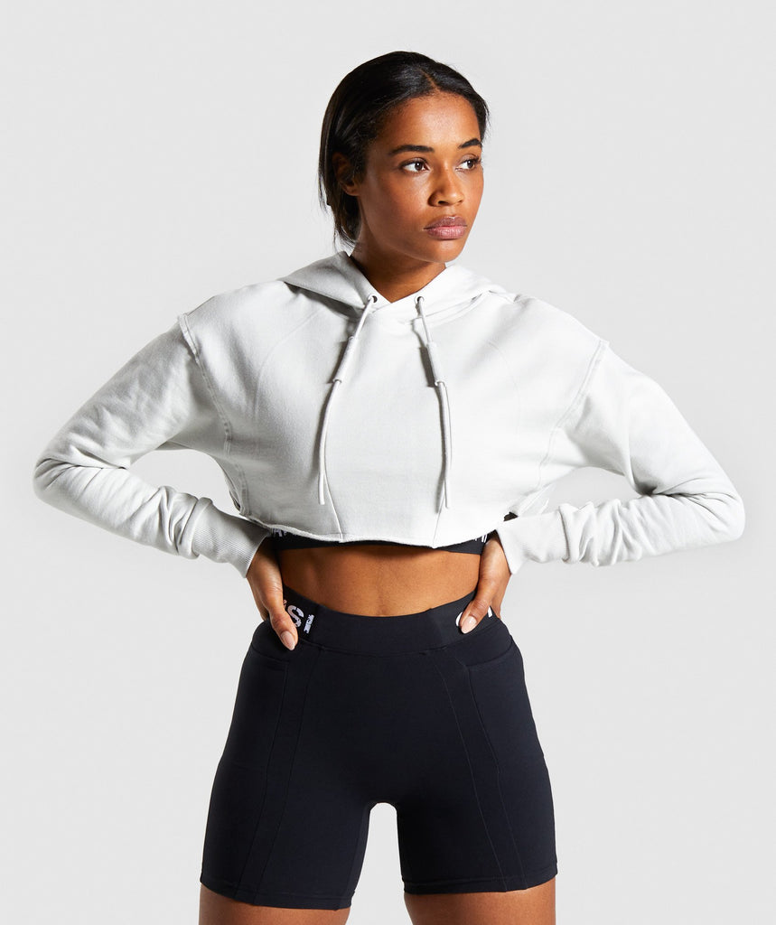Gymshark Legacy Fitness Super Cropped Hoodie - Light Grey 1
