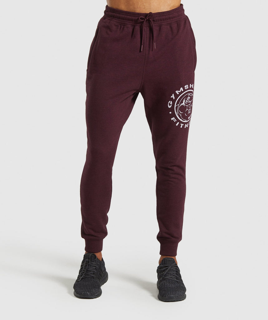 Gymshark Legacy Plus Joggers - Dark Red 1