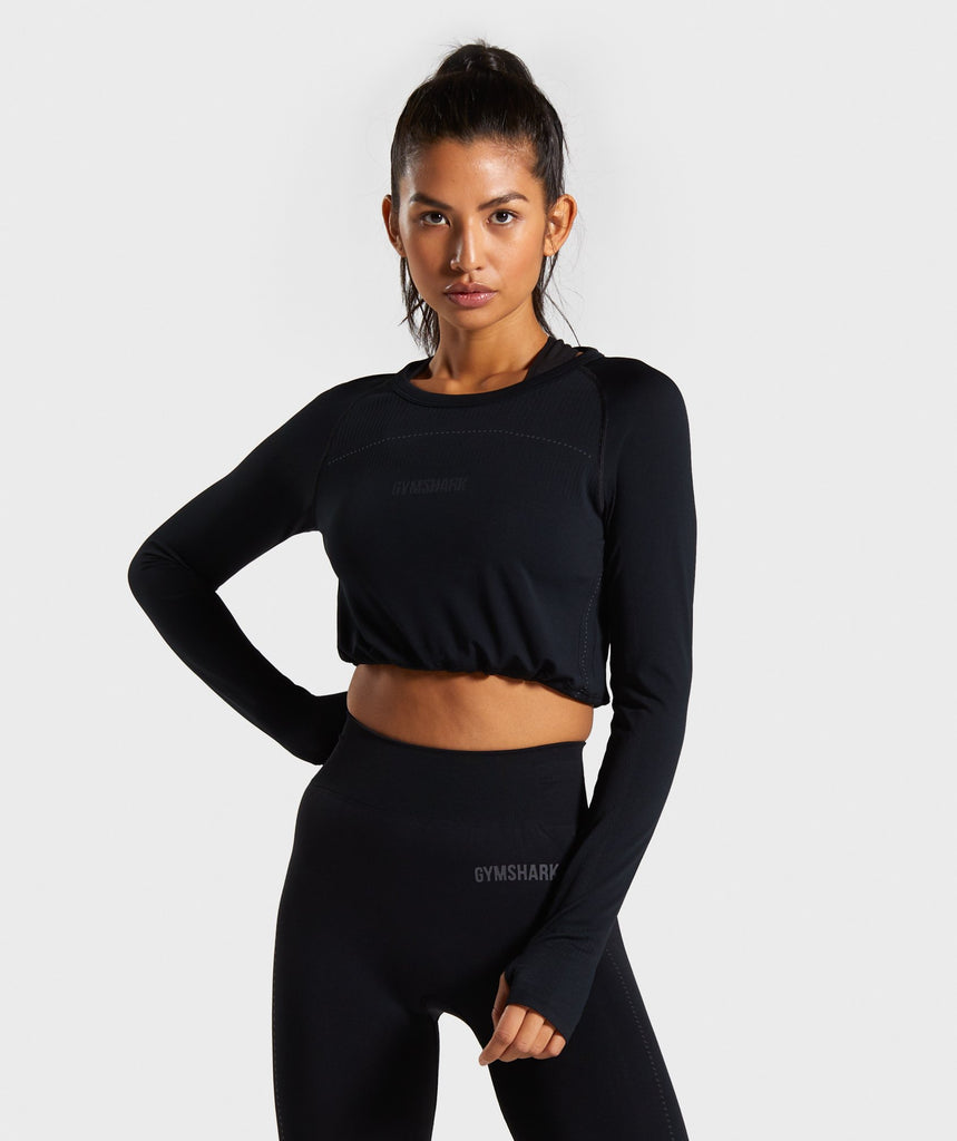 Gymshark Breeze Lightweight Seamless Long Sleeve Crop Top - Black 1