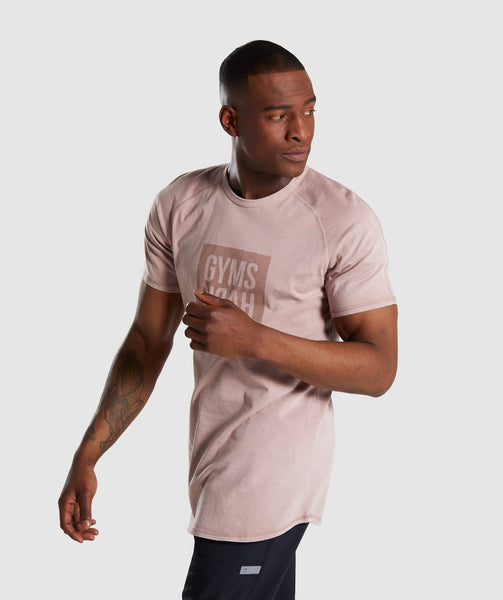 Gymshark Laundered Square Logo T-Shirt - Pink 2