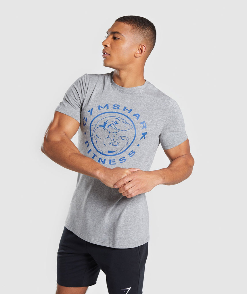 Gymshark Legacy T-Shirt - Grey/ Blue 1