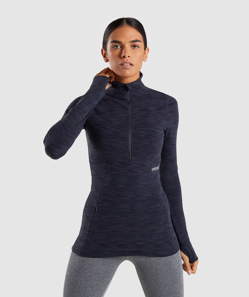 Gymshark Limit 1/2 Zip Pullover - Black Marl 1