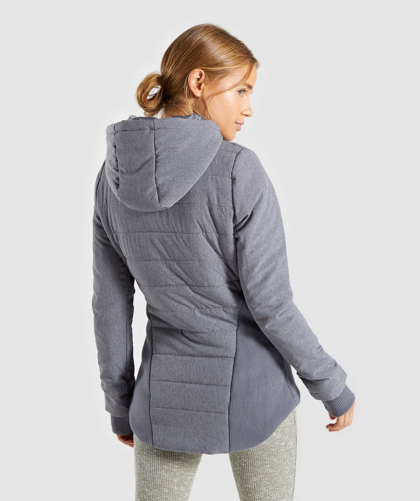 Gymshark Mellow Fitted Puffer Jacket - Charcoal Marl 2