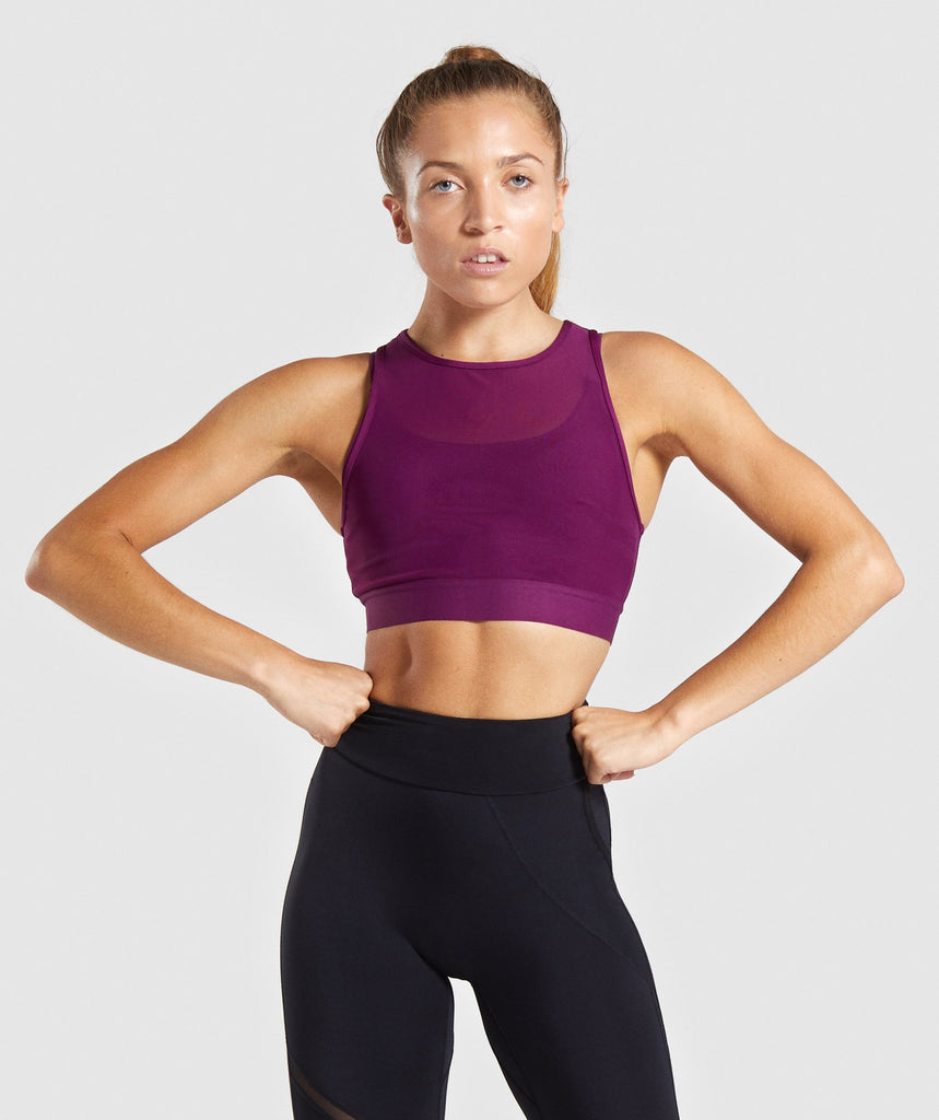 Gymshark Mesh Layer Sports Bra - Deep Magenta 1