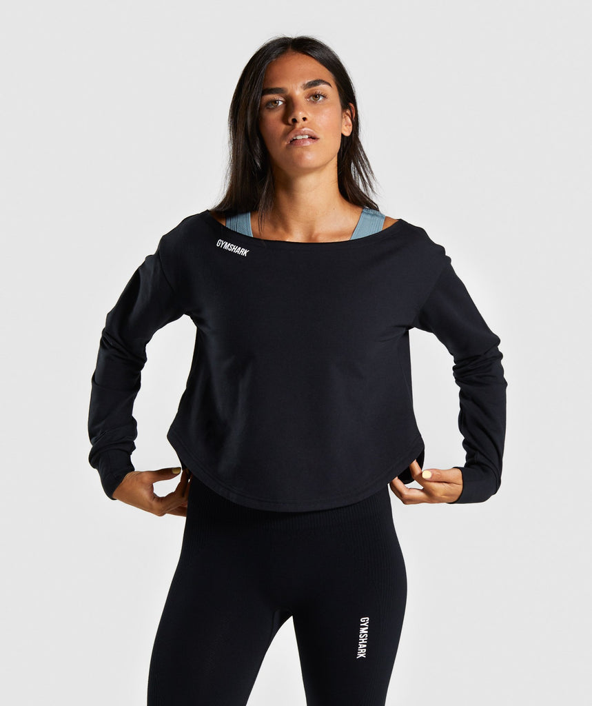 Gymshark Power Down Long Sleeve Top - Black 1