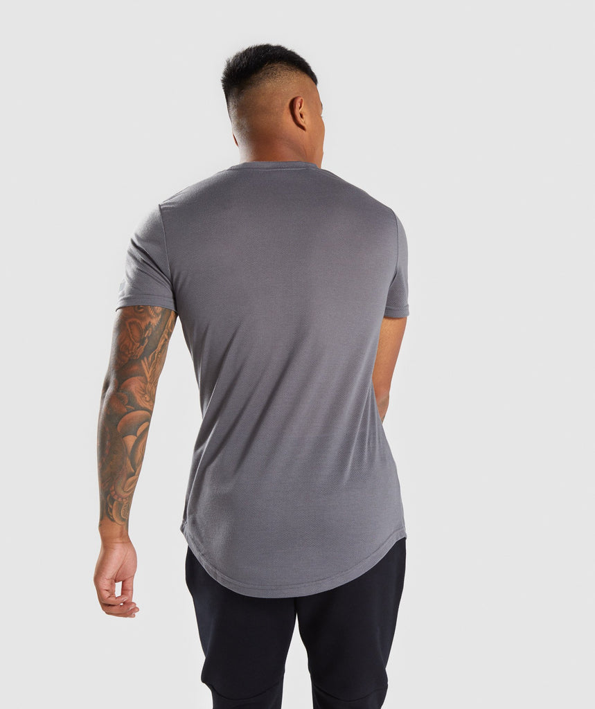 Gymshark Perforated Longline T-Shirt - Smokey Grey 2