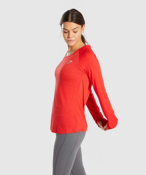 Gymshark Primary Open Cross Back Long Sleeve - Pop Red 2