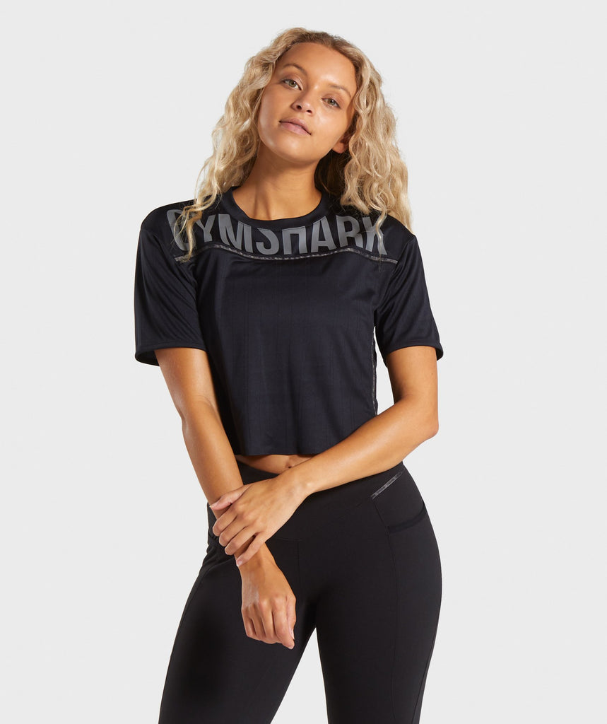 Gymshark Recess Crop Top - Black 1