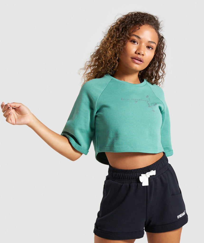 Gymshark Roots Boxy Cropped Sweater - Green 1