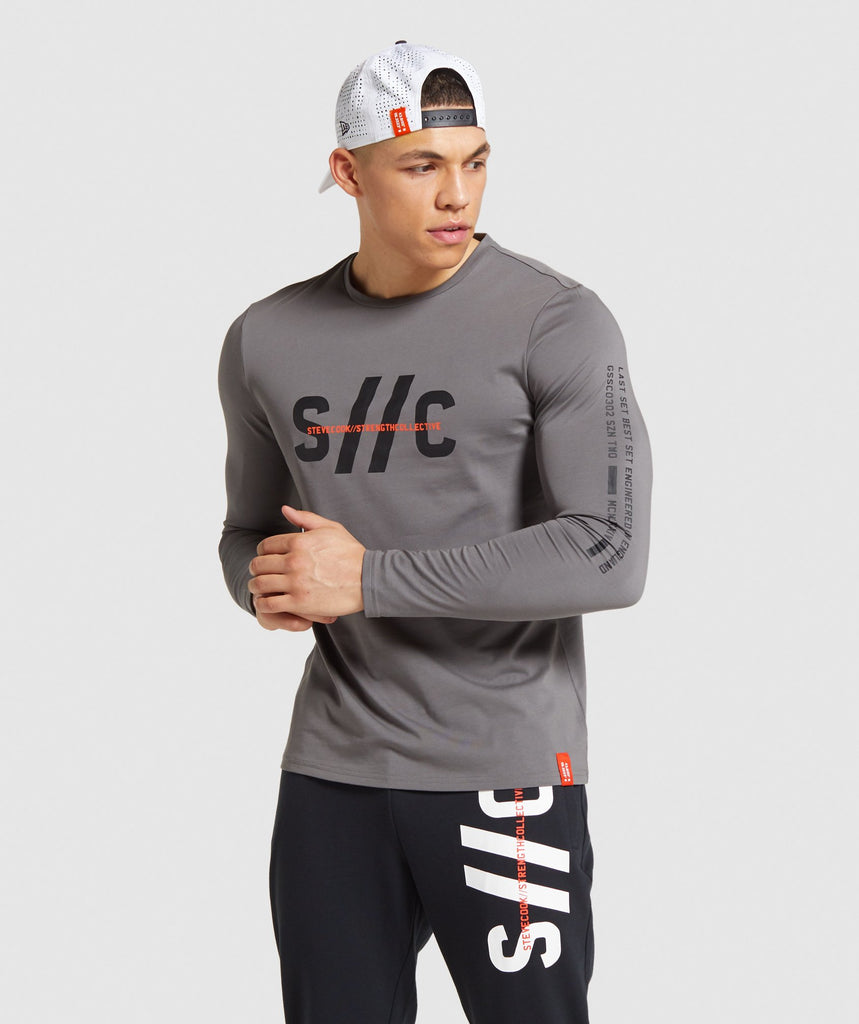 Gymshark Steve Cook Long Sleeve T-Shirt - Grey 1