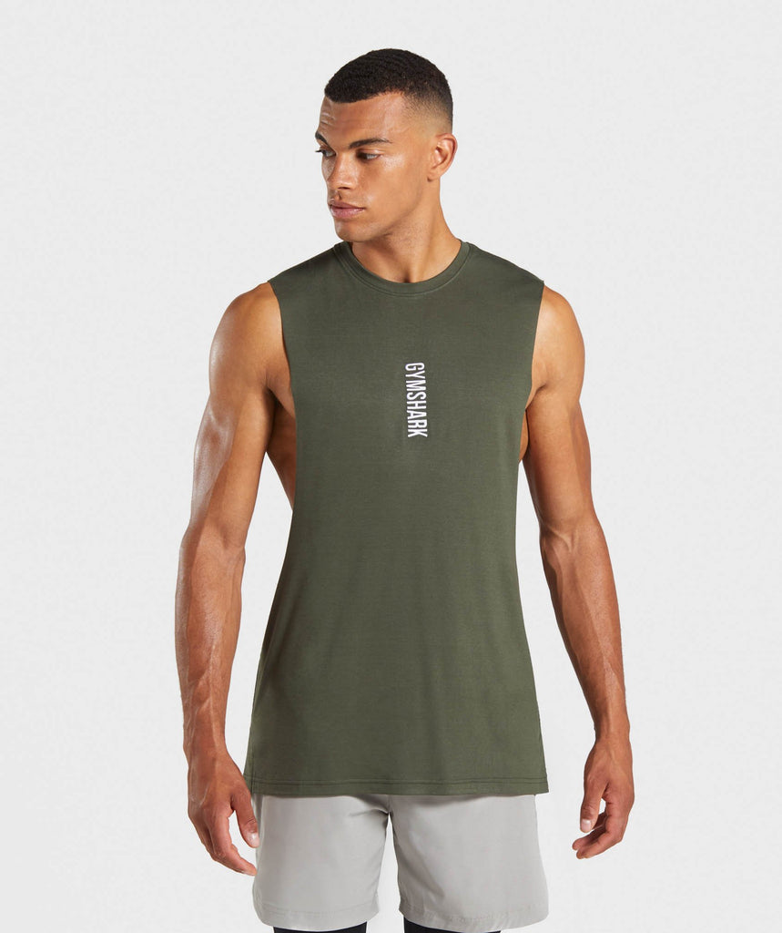 Gymshark Shadow Drop Armhole Tank - Dark Green 1
