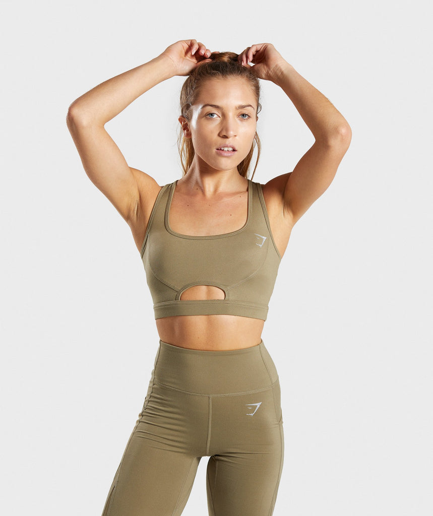 Gymshark Sleek Sculpture Sports Bra - Khaki Wash 1