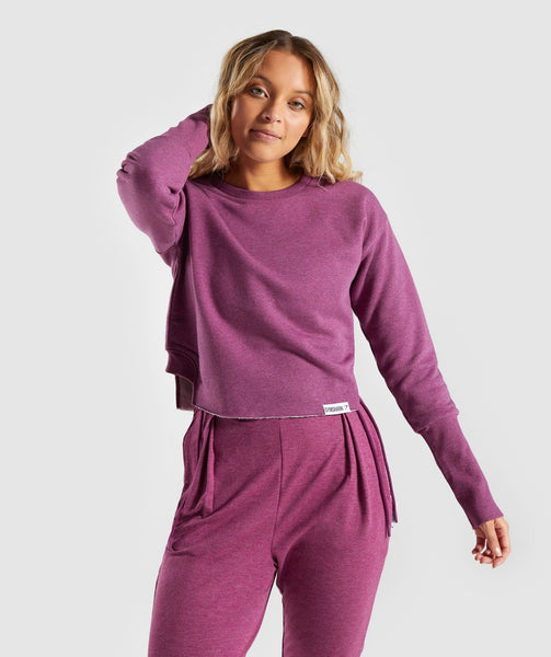 Gymshark Slounge Crescent Sweater - Dark Ruby Marl 4