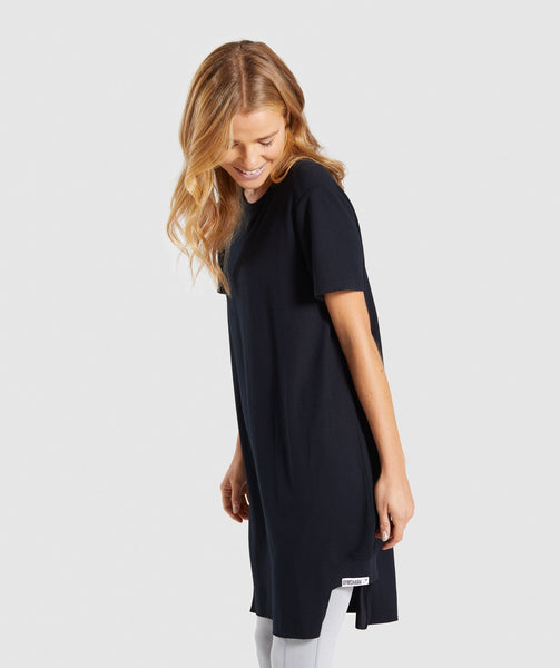 Gymshark Slounge Crescent T-Shirt Dress -Black 1