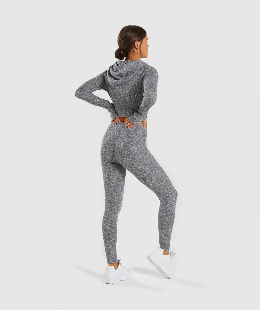 Gymshark Slounge Cropped Hoodie - Charcoal Marl 6