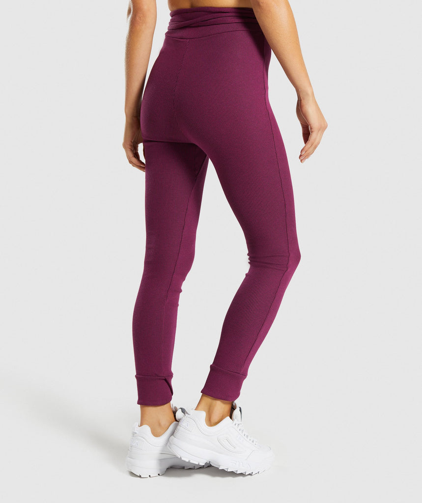 Gymshark Slounge Ribbon Bottoms - Dark Ruby Marl 2