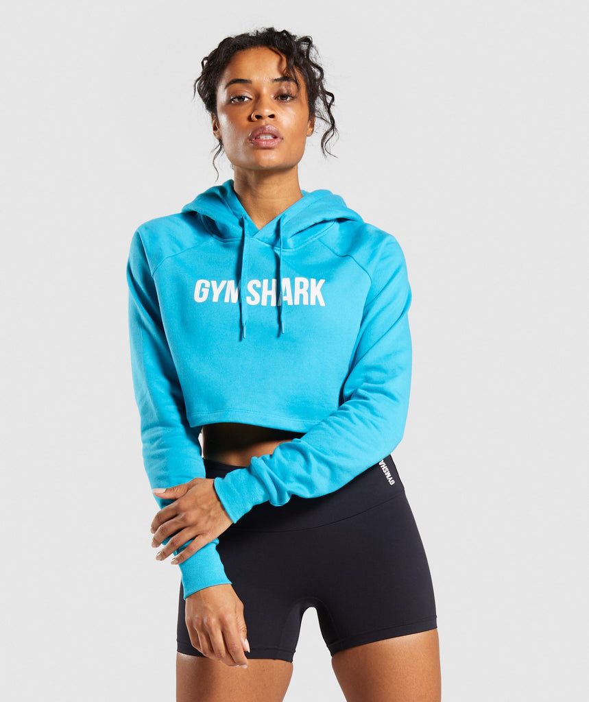 Gymshark Training Cropped Hoodie - Teal 1