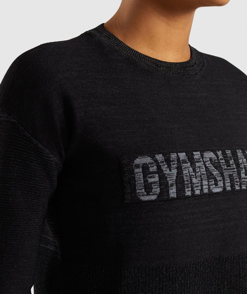 Gymshark Time Out Knit Sweater - Black Marl 6