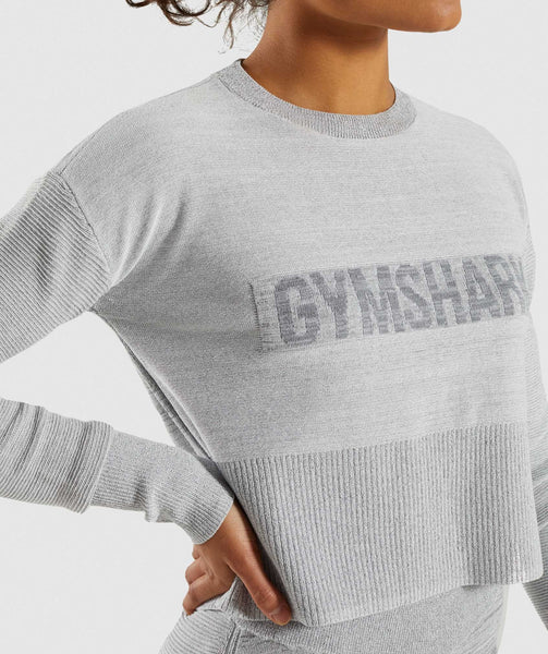 Gymshark Time Out Knit Sweater - Light Grey 3