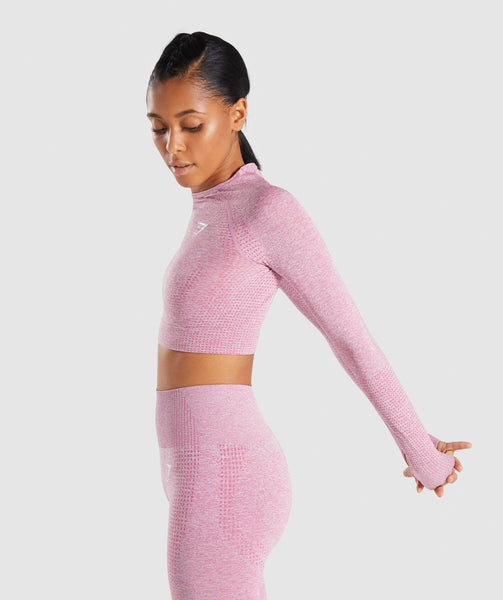 Gymshark Vital Long Sleeve Crop Top - Dusky Pink Marl 2