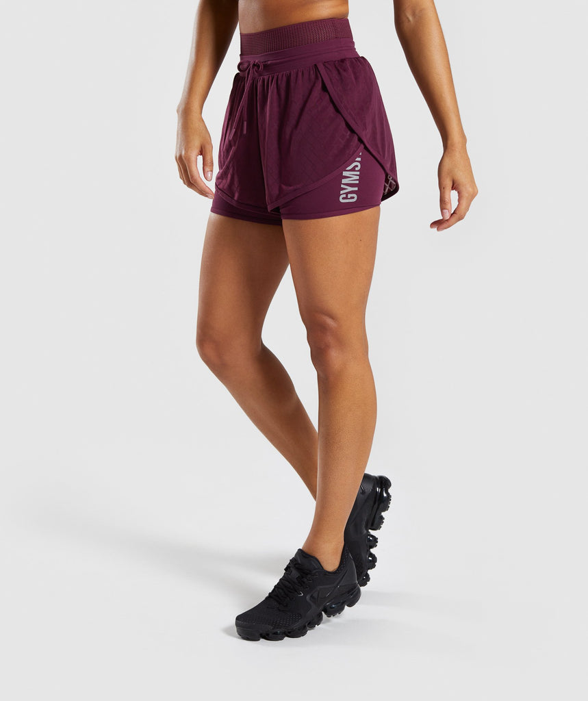 Gymshark Geo Mesh Two In One Short - Dark Ruby 1