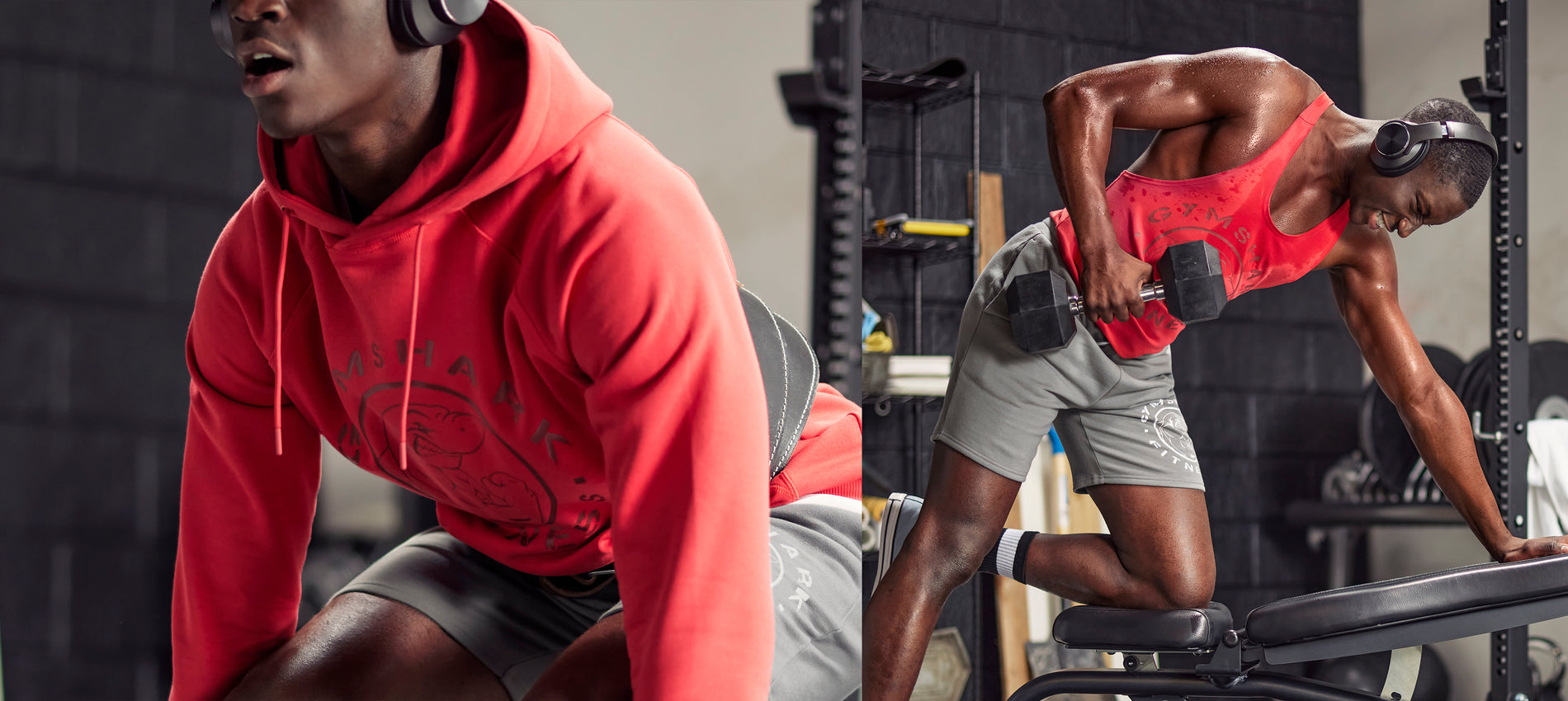 Male working out in an at home gym in his garage wearing the new Legacy collection.