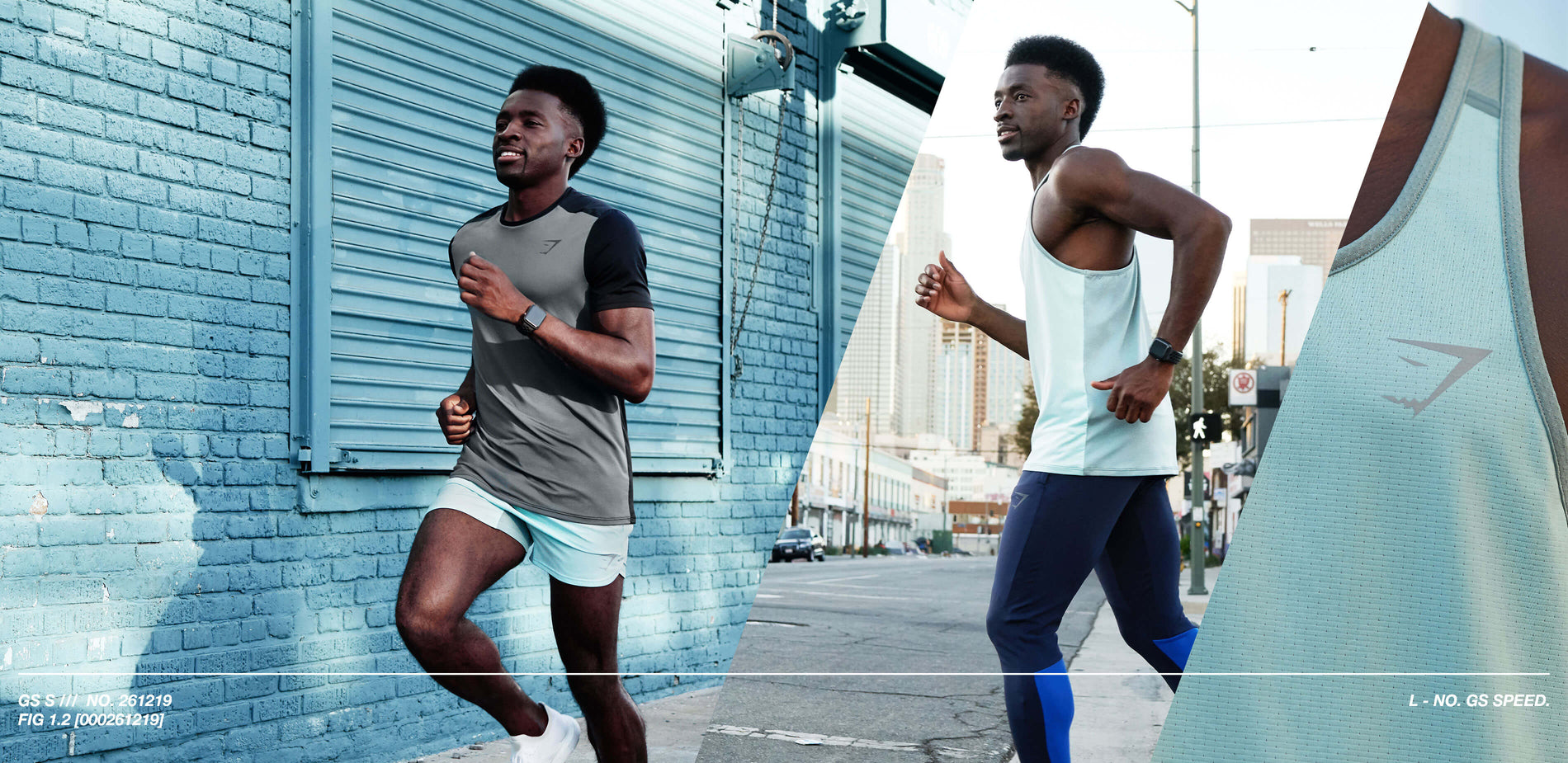A collage of three images shows male Gymshark athlete Hellah Sidibe running down urban streets wearing the Speed collection.