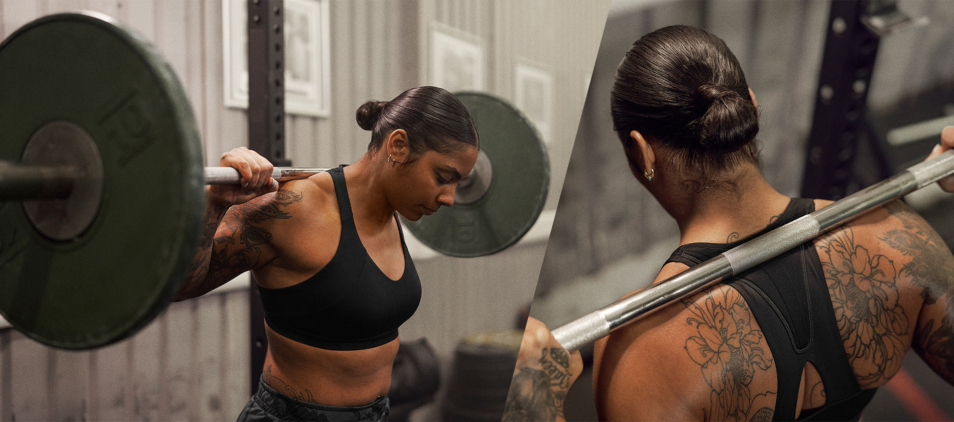Female Gymshark Athletes lifting and posing in the new Power collection.