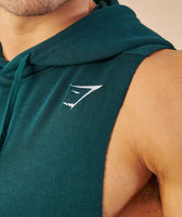 Gymshark Drop Arm Sleeveless Hoodie - Forest Green 12