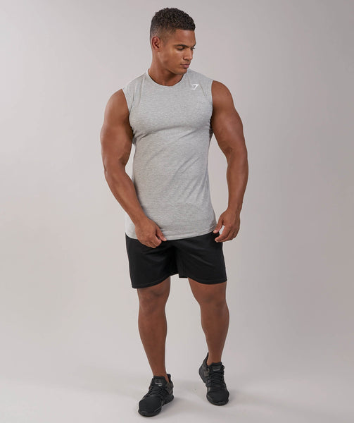 Gymshark Ark Sleeveless T-Shirt - Light Grey Marl 1