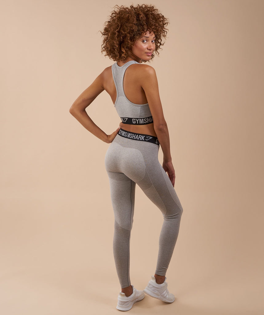 Gymshark Flex Leggings - Light Grey Marl/Black 2