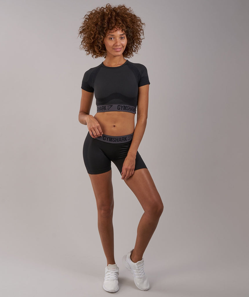 Gymshark Flex Crop Top - Black Marl/Charcoal 1