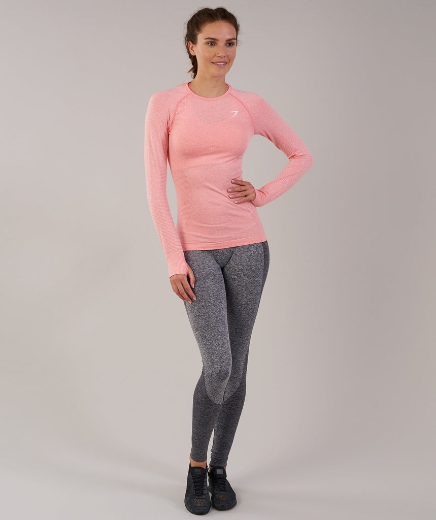 Gymshark Seamless Long Sleeve Top - Peach Pink Marl 1