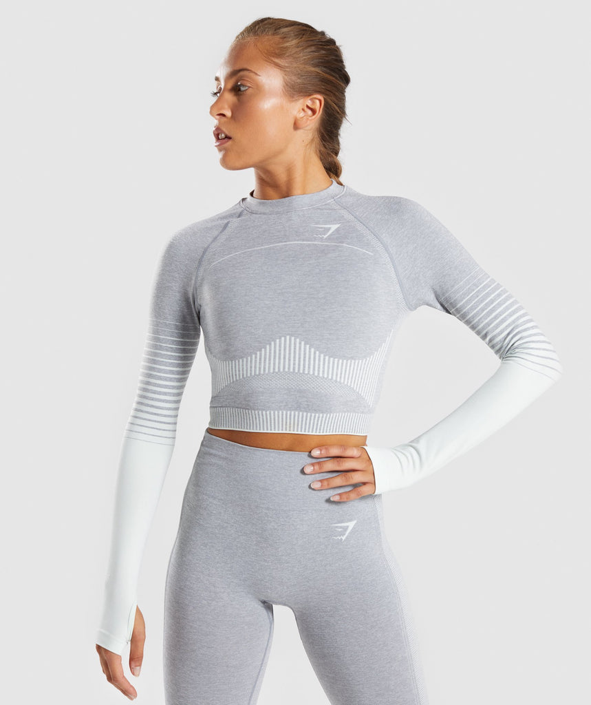 Gymshark Amplify Seamless Long Sleeve Crop Top  - Light Grey Marl/Sea Green 1