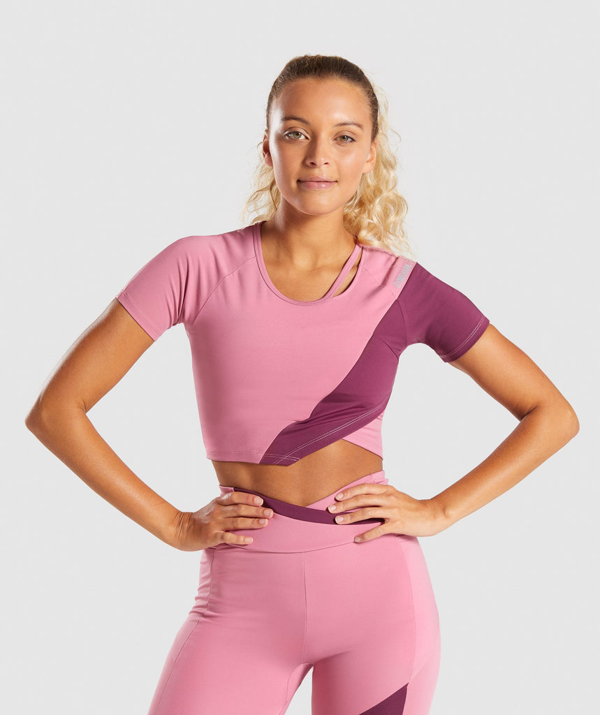 Gymshark Asymmetric Crop Top - Dusky Pink/Dark Ruby 1