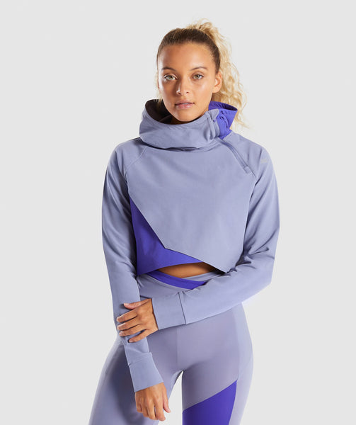 Gymshark Asymmetric Performance Hoodie - Steel Blue/Indigo 4