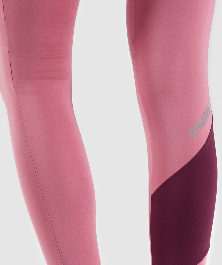 Gymshark Asymmetric Leggings - Dusky Pink/Dark Ruby 6