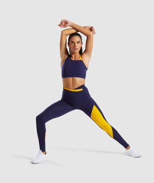 Gymshark Asymmetric Leggings - Evening Navy Blue/Citrus Yellow 3