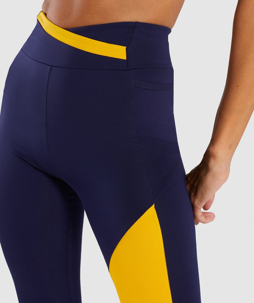 Gymshark Asymmetric Leggings - Evening Navy Blue/Citrus Yellow 6