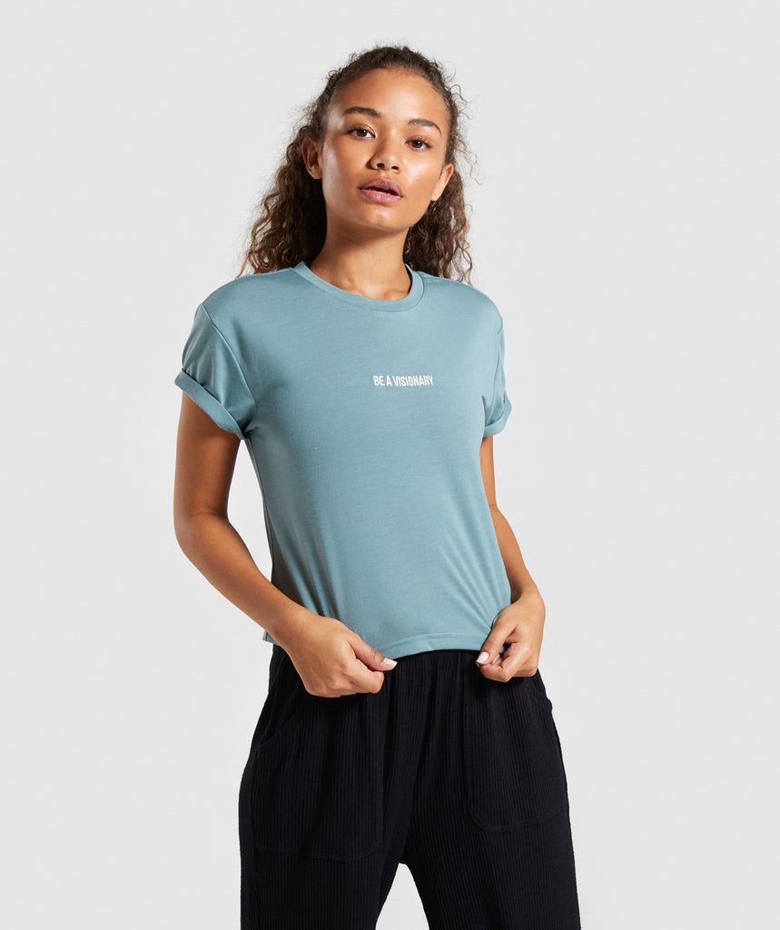 Gymshark Essential Be a Visionary Tee - Turquoise 1