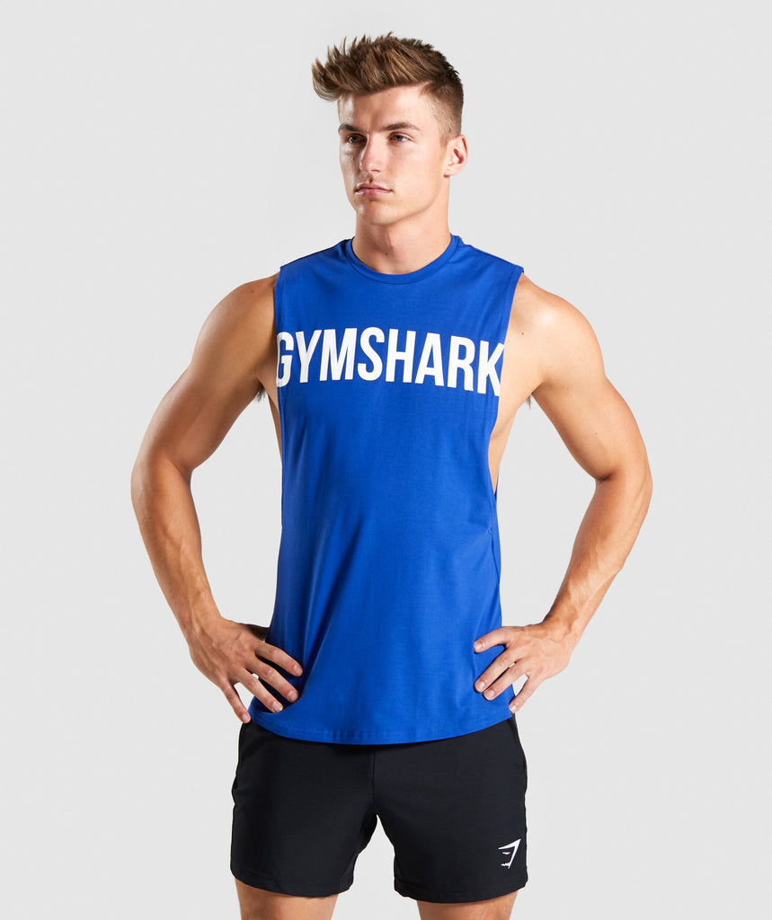 Gymshark Bold Graphic Drop Armhole Tank - Electric Blue 1