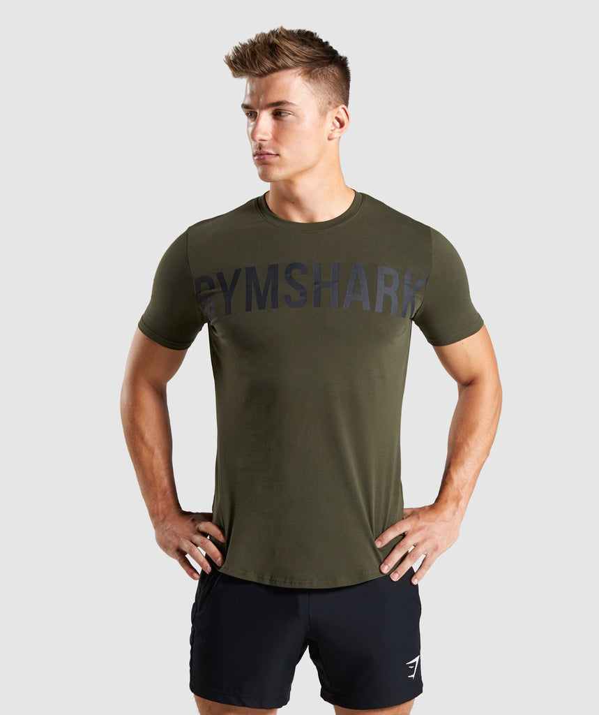 Gymshark Bold Graphic T-Shirt - Dark Green 1